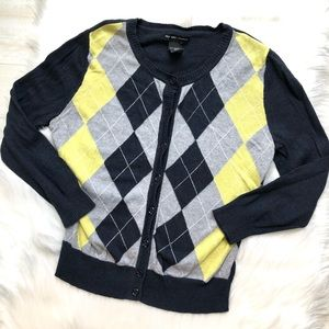 New York & Company Argyle Cardigan Sweater, XS